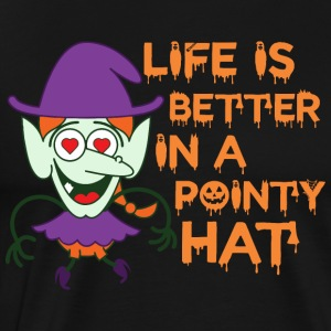 Life Is Better In A Pointy Hat Halloween - Men's Premium T-Shirt