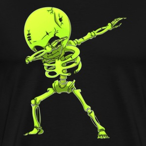 Dabbing Skeleton Halloween Neon Green Dab Dance - Men's Premium T-Shirt