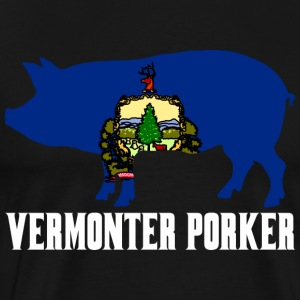 Vermonter Porker State Flag Pig Pork BBQ - Men's Premium T-Shirt