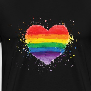 Gay Pride - Colorfull LGBT Rainbow Heart - Men's Premium T-Shirt