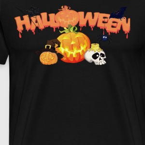 Halloween Pumpkin Spider Spiderweb Bat - Men's Premium T-Shirt