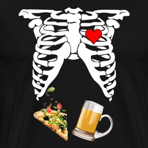 Maternity Skeleton Baby Beer and Pizza - Men's Premium T-Shirt