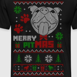 Merry Pitmas Christmas Sweater Design Gift for Pit - Men's Premium T-Shirt