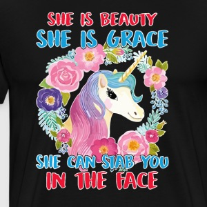 She Is Beauty She Is Grace She Can Stab You - Men's Premium T-Shirt