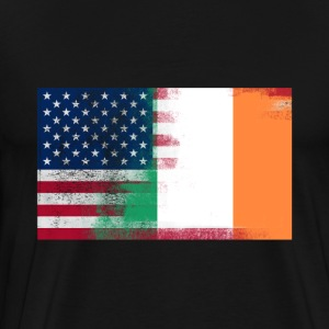 Irish American Half Ireland Half America Flag - Men's Premium T-Shirt