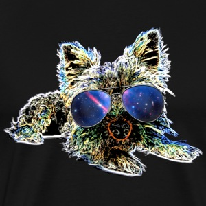 Dog Love Terrier + Sunglasses + Galaxy  Cool Dog - Men's Premium T-Shirt