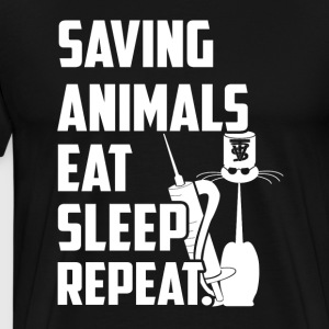 Saving Animals eat sleep repeat - Men's Premium T-Shirt