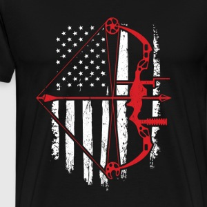 BowHunter Distressed American Flag - Men's Premium T-Shirt