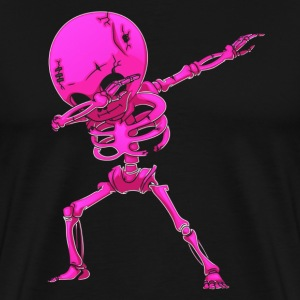 Dabbing Skeleton Halloween Neon Pink Dab Dance - Men's Premium T-Shirt