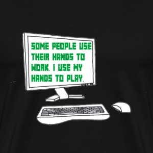 Gamer quote on Computer Screen - Men's Premium T-Shirt