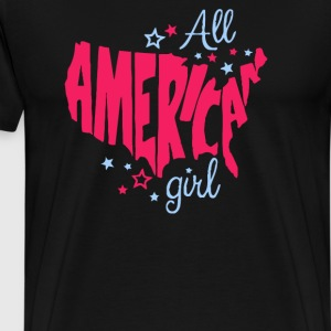 American Girl Funny Cute Flag Patriotic - Men's Premium T-Shirt