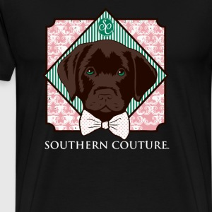 Southern Couture Comfort Color Preppy Lab Dog Bow - Men's Premium T-Shirt