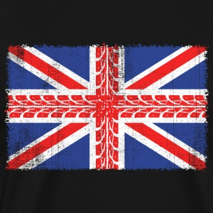 Vintage UK Flag Made of Motorbike Tracks  Biker - Men's Premium T-Shirt