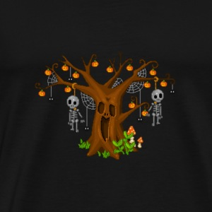 Halloween tree pixel art - Men's Premium T-Shirt