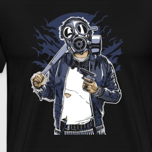Gas Mask Bastard. The crazy thug and streetfighter - Men's Premium T-Shirt