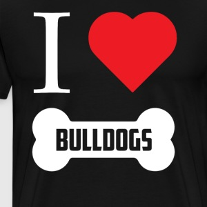 Funny Bulldog Shirt I Heart Bulldogs Bone - Men's Premium T-Shirt
