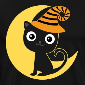 Halloween black cat and moon T-shirt - Men's Premium T-Shirt