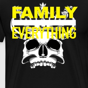 Mens Family Over Everything Skull Yellow - Men's Premium T-Shirt