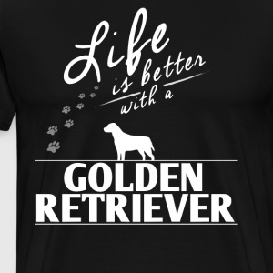 Funny Golden Retriever Gift Life Is Better With A Golden Retriver Paws - Men's Premium T-Shirt