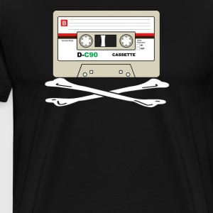 Cool Retro Cassette Tape Crossbones Shirt - Men's Premium T-Shirt