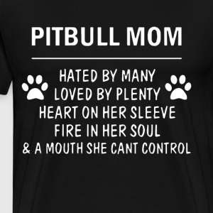 Pitbull mom hated by many loved by plenty heart on - Men's Premium T-Shirt