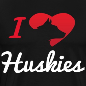 I Love Huskies - Men's Premium T-Shirt