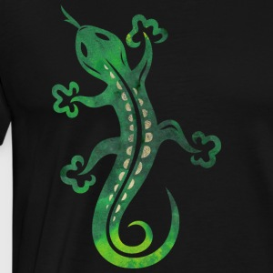 Green lizard, tribal and tattoo style. - Men's Premium T-Shirt