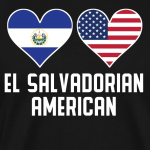 El Salvadorian American Heart Flags - Men's Premium T-Shirt