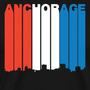 Red White And Blue Anchorage Alaska Skyline - Men's Premium T-Shirt