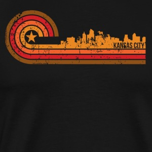 Retro Style Kansas City Kansas Skyline Distressed - Men's Premium T-Shirt