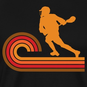 Retro Style Lacrosse Player Silhouette Sports - Men's Premium T-Shirt
