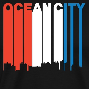 Red White And Blue Ocean City Maryland Skyline - Men's Premium T-Shirt