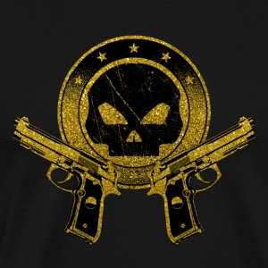 Death Squad - Gold Symbol Skull Guns Weapon Rifle - Men's Premium T-Shirt