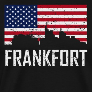 Frankfort Kentucky Skyline American Flag - Men's Premium T-Shirt