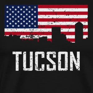 Tucson Arizona Skyline American Flag Distressed - Men's Premium T-Shirt