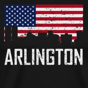 Arlington Texas Skyline American Flag Distressed - Men's Premium T-Shirt