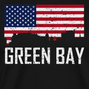 Green Bay Wisconsin Skyline American Flag - Men's Premium T-Shirt