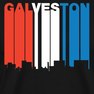 Red White And Blue Galveston Texas Skyline - Men's Premium T-Shirt