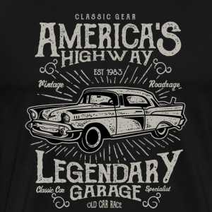America s Highway. Classic Cars At Vintage Garage. - Men's Premium T-Shirt