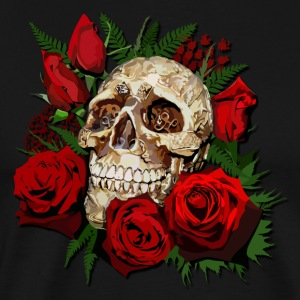 Sugar skull and Red Roses - Men's Premium T-Shirt