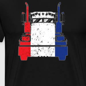 French Trucker Shirt France Flag Trucker Dad Shirt - Men's Premium T-Shirt
