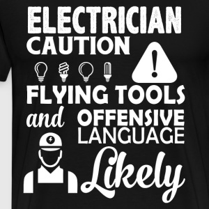 Electrician Caution T Shirt - Men's Premium T-Shirt
