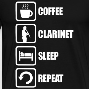 Clarinet - Coffee Clarinet Sleep Repeat Funny - Men's Premium T-Shirt