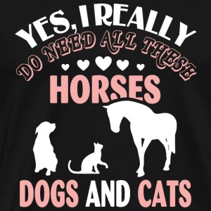 Animal - Horses Dogs And Cats T Shirt - Men's Premium T-Shirt
