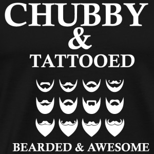 Beard - Beard Chubby And Tattooed Beard And Awes - Men's Premium T-Shirt
