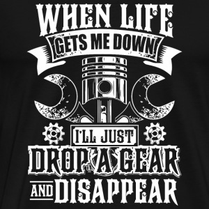Motorcycle - Mens Drop a Gear and Disappear Funn - Men's Premium T-Shirt