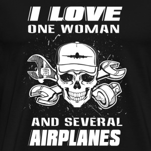 Aircrafts mechanic - i love one woman and severa - Men's Premium T-Shirt