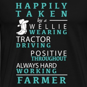 Cowboy - happy taken by a wellie wearing tractor - Men's Premium T-Shirt