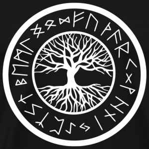 Viking - Yggdrasil Tree of Life with Norse Rune - Men's Premium T-Shirt