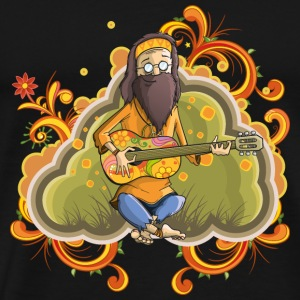 Hippie with guitar in nirvana vector cartoon image - Men's Premium T-Shirt